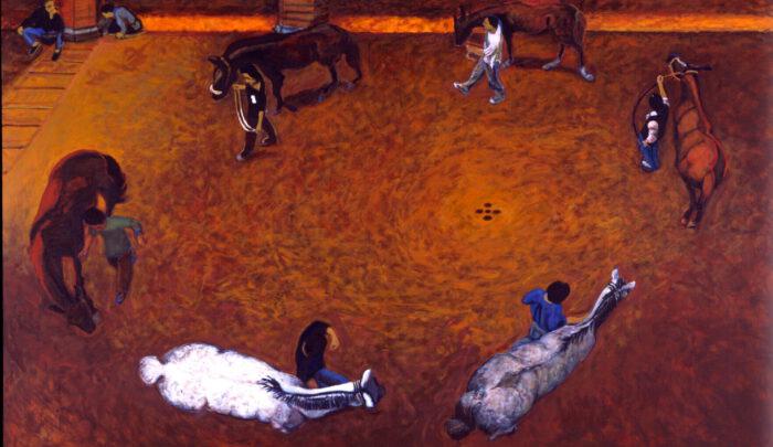 1998 01 11 Cavalli Hof Acryl auf Leinwand 295x500 cm