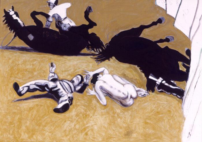 1998 01 29 Caduti 2 Acryl Gold auf Leinwand 160x223 cm