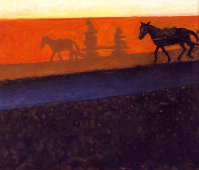 1998 01 39 Cavallo 3 mit Schatten Acryl auf Leinwand 120x140 cm