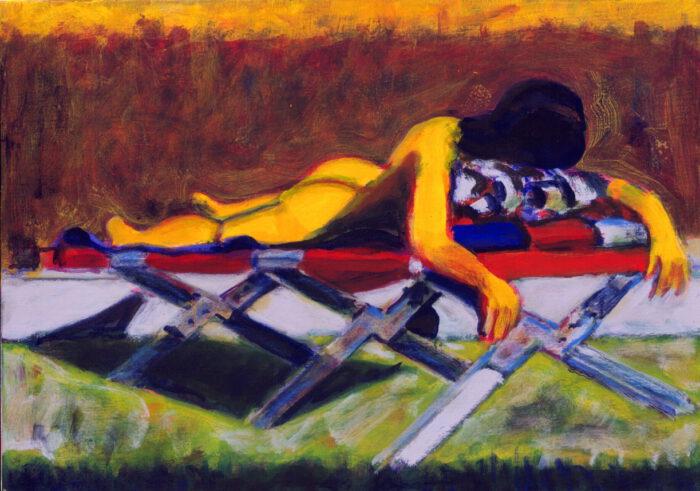 1998 04 01 o.T.Liegestuhl III Acryl auf Leinwand 50x70 cm