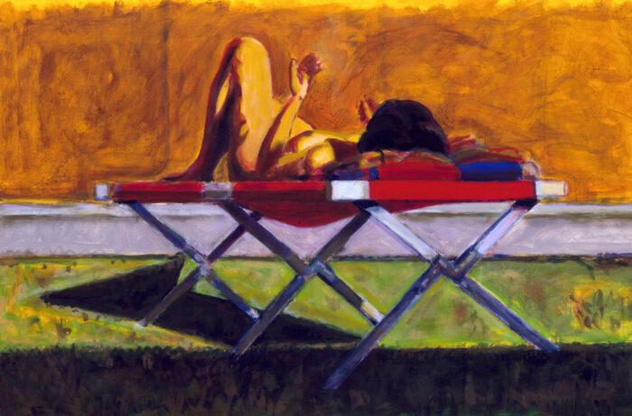 1998 04 02 o.T. Liegestuhl II Acryl auf Leinwand 100x150 cm