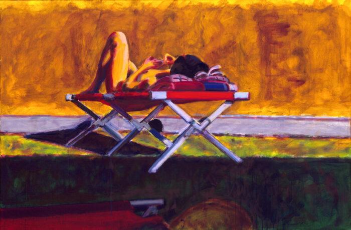 1998 04 03 o.T. Liegestuhl I Acryl auf Leinwand 100x150 cm