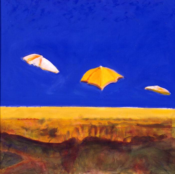 1998 08 02 Sonnenschirme Acryl auf Leinwand 100x100 cm