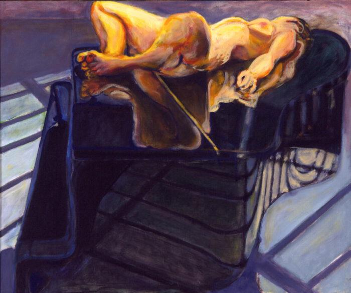 1998 09 06 akt auf Flügel Acryl auf Leinwand 100x120 cm