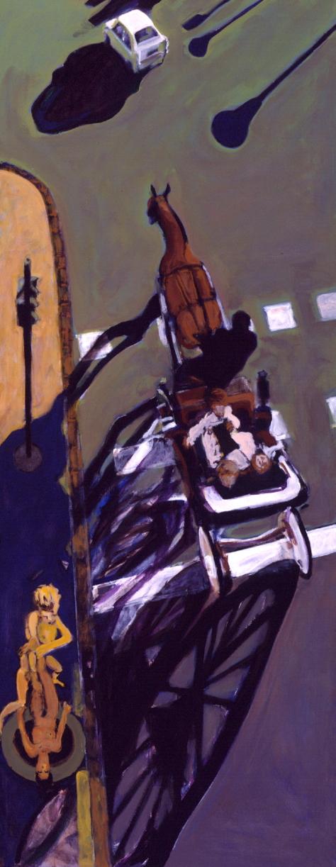 1998 13 01 Kutsche Acryl auf Leinwand 240x95 cm