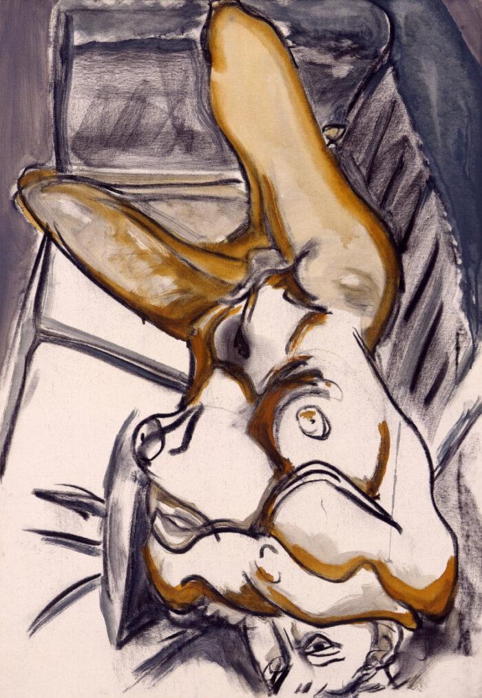 1999 03 01 Akt 4 Kohle Acryl auf Leinwand 100x70 cm