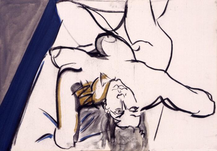 1999 03 02 Akt 3 Kohle Acryl auf Leinwand 70x100 cm