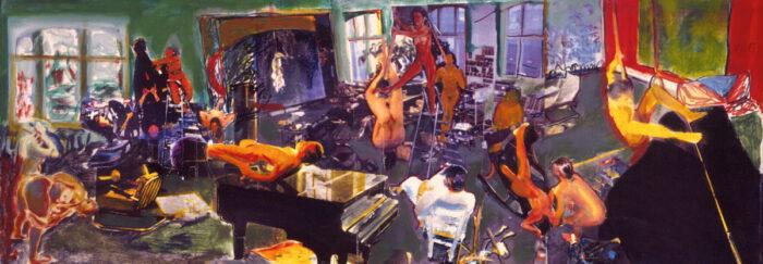 1999 06 01 Tadeuszene I Collage Acryl auf Leinwand 42x115 cm