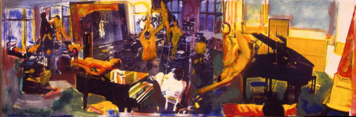 1999 06 02 Tadeuszene II Acryl auf Leinwand 42x128 cm