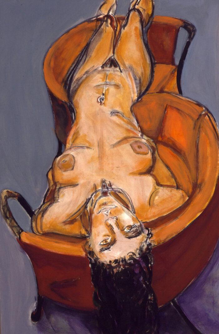 1999 07 03 Akt 2 Kohle Acryl auf Leinwand 120x80 cm