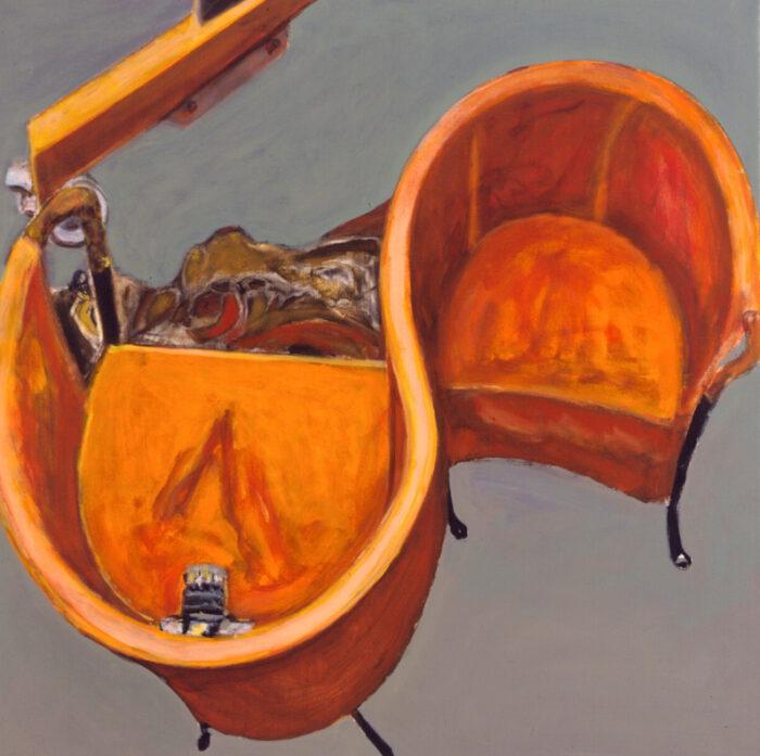 1999 07 04 o.T. Akt Sessel Acryl auf Leinwand 120x120 cm