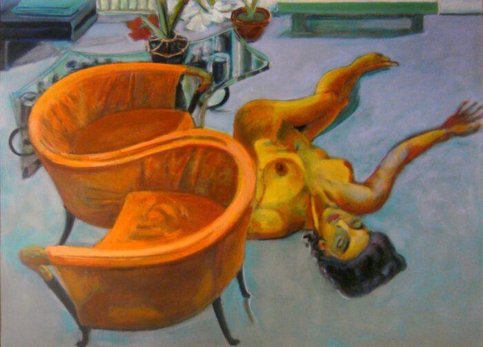 1999 07 06 Alberto Burri Stuhl Acryl auf Leinwand 130x162 1