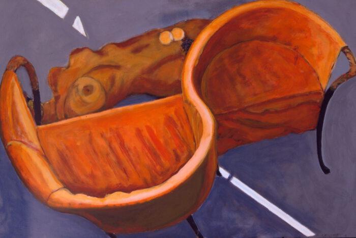 1999 07 08 o.T. Akt Sessel Acryl auf Leinwand 100x150 cm