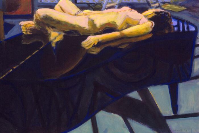 1999 09 02 o.T. Akt auf Flügel Acryl auf Leinwand 80x120 cm