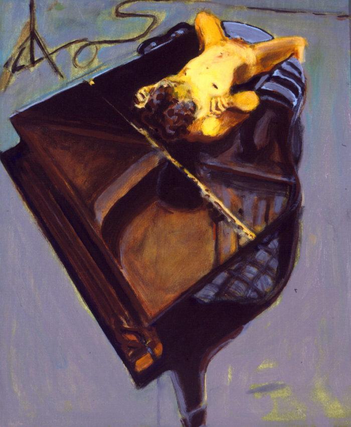 1999 09 03 Akt auf Flügel Acryl auf Leinwand 60x52 cm