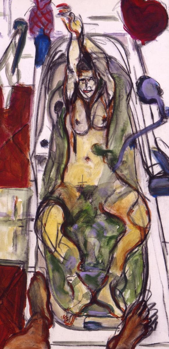 1999 10 01 Badewanne Kohle Acryl auf Leinwand 100x50 cm