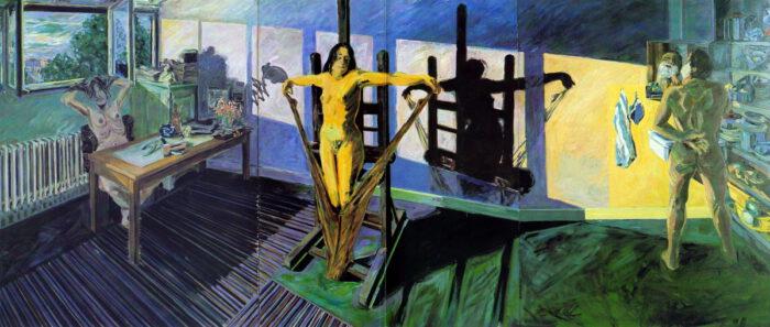 Bitte ersetzen....1970 02 01 Triptychon mit Strumpfhose Öl auf Leinwand 160x375 cm